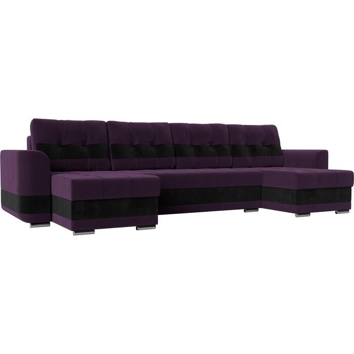 Диван АртМебель Честер велюр фиолетовый вставка черная П-образный