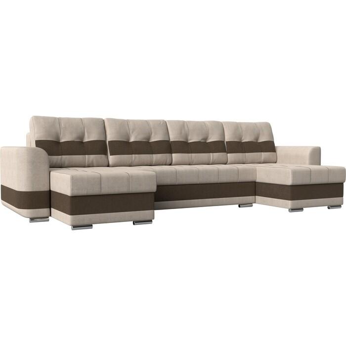 Диван Лига Диванов Честер рогожка бежевый вставка коричневая П-образный. диван экомебель гамбург п образный рогожка коричневая