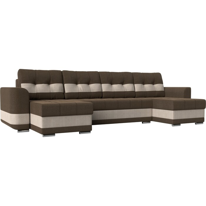 Диван АртМебель Честер рогожка коричневый вставка бежевая П-образный диван еврокнижка артмебель честер рогожка коричневый вставка бежевая
