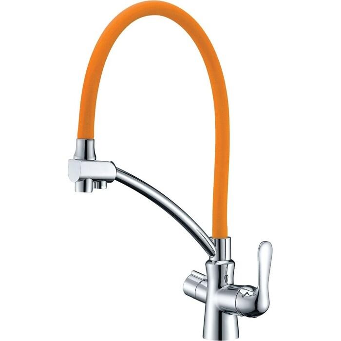 Смеситель для кухни Lemark Comfort с гибким изливом (LM3070C-Orange)