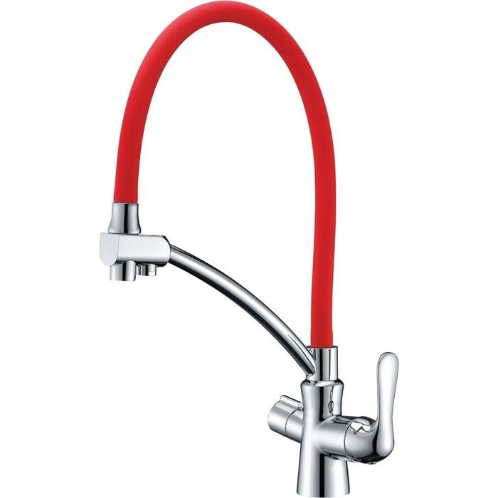 Смеситель для кухни Lemark Comfort с гибким изливом (LM3070C-Red)