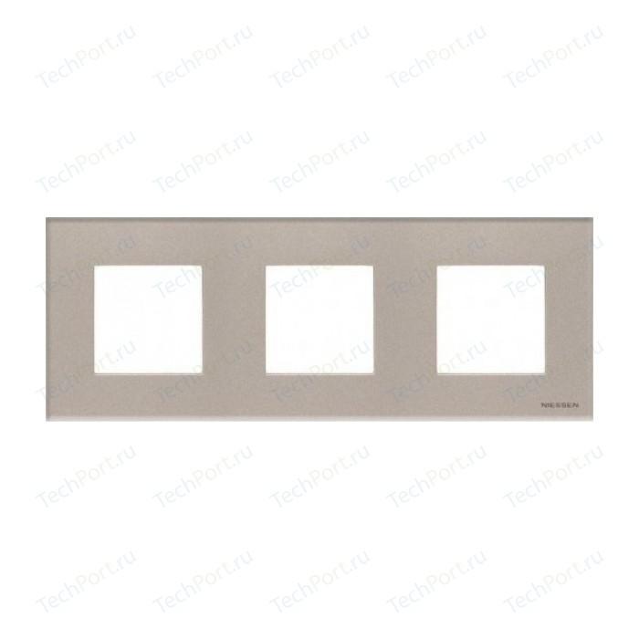 Рамка ABB 3-постовая 6мод. Zenit шампань (N2273 CV)