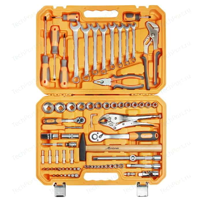 Набор инструментов Airline универсальный 78 предметов + фонарь, пласт.кейс (AT-78-07)