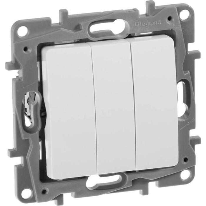 Выключатель трехклавишный Legrand СП Etika 10А IP20 винтовые зажим белый (672213)