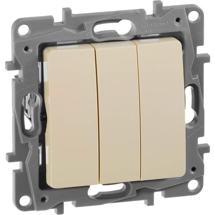 Выключатель трехклавишный Legrand СП Etika 10А IP20 винтовые зажим слоновая кость. (672313)