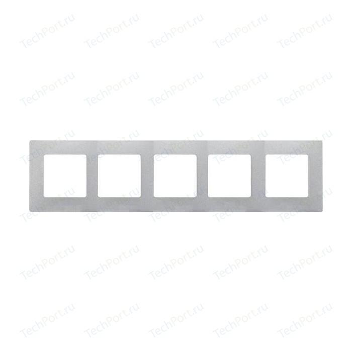 Рамка Legrand на 5 постов Etika алюминий (672555)