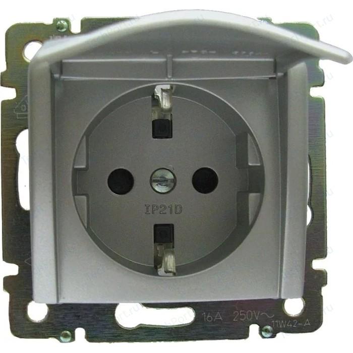 Розетка с заземлением Legrand СП Valena защитной крышкой (откидн.) немецкий стандарт алюминий (770122)