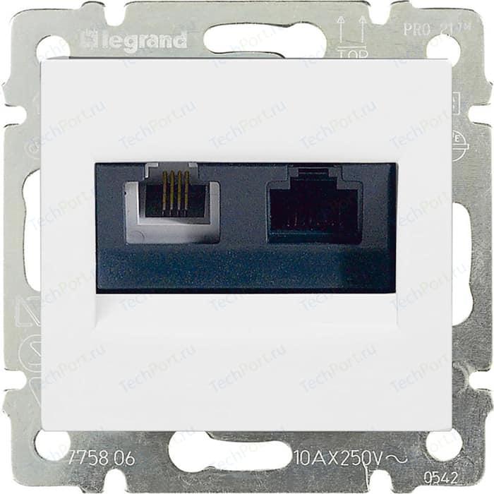 Розетка компьютер+телефон Legrand СП Valena RJ45 CAT.5E UTP+RJ11 белая (770080)