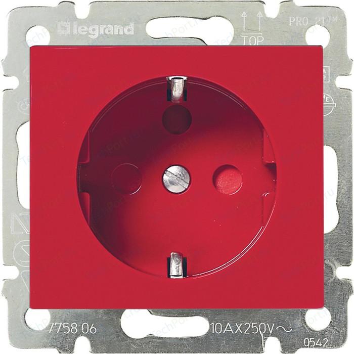 Розетка с заземлением Legrand СП Valena блок. немецкий стандарт красная (774327)