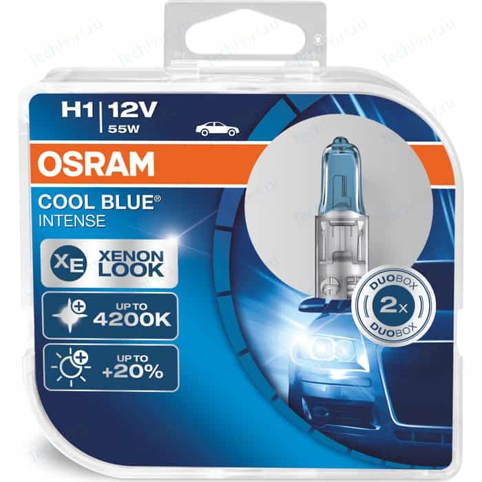 Галогенные лампы Osram H1 COOL BLUE INTENSE, 4200K, 12V, 55W, 2 шт, 64150CBI-HCB