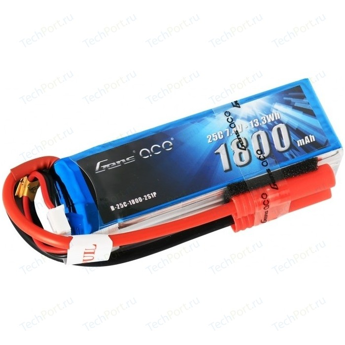 Аккумулятор Gens Ace Li-Po - 7.4В 1800мАч 25C (2S1P) B25C18-2S