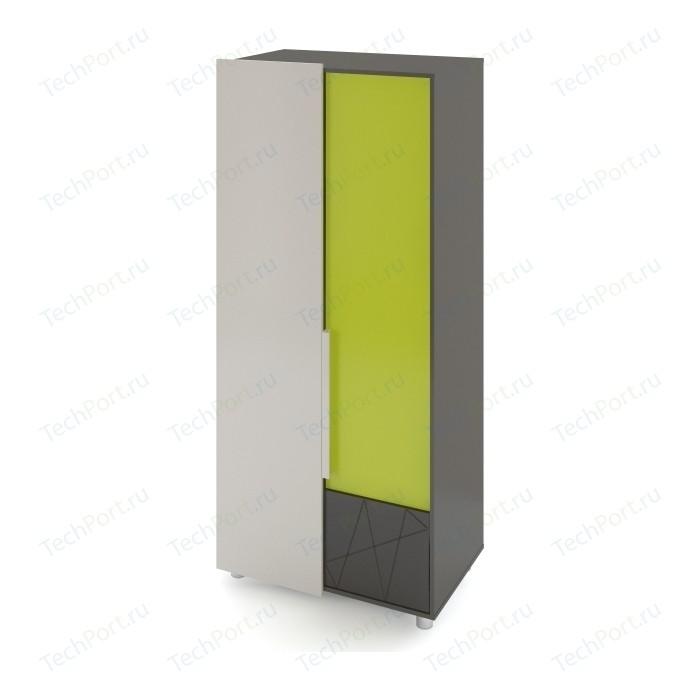 цена Шкаф 2-х дверный Комфорт - S Arvo Тармо М 5 темно-серый/лайм/белый онлайн в 2017 году