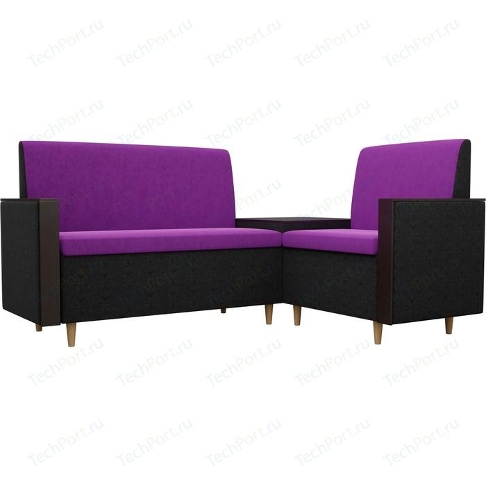 Кухонный уголок АртМебель Модерн вельвет фиолетовый/черный правый угол