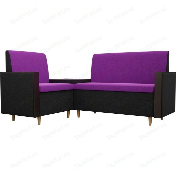 Кухонный уголок АртМебель Модерн вельвет фиолетовый/черный левый угол