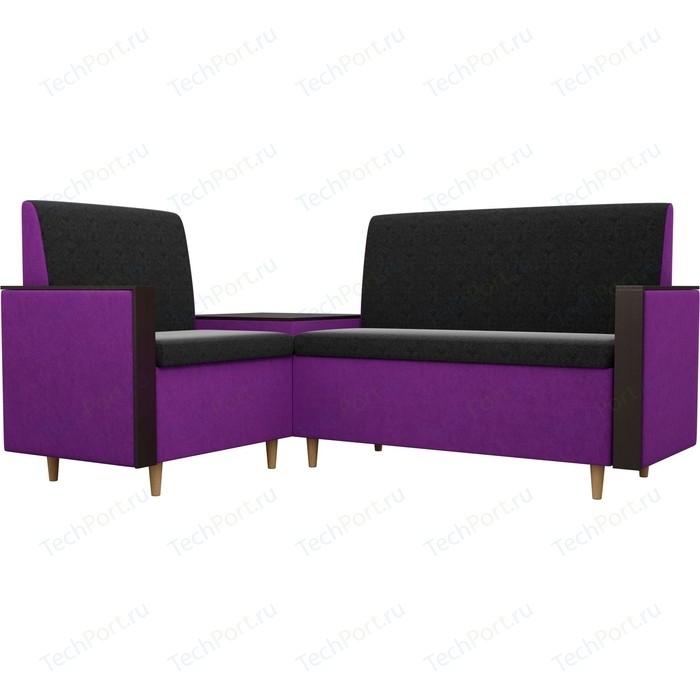 Кухонный уголок АртМебель Модерн вельвет черный/фиолетовый левый угол