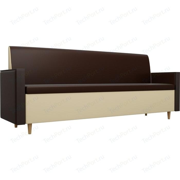 Кухонный прямой диван АртМебель Модерн экокожа коричневый/бежевый