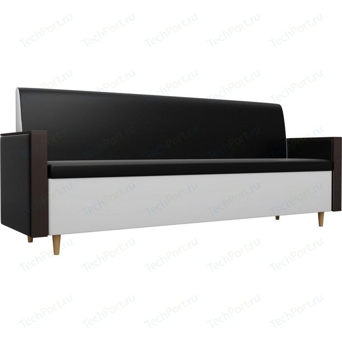 Кухонный прямой диван АртМебель Модерн экокожа черный/белый