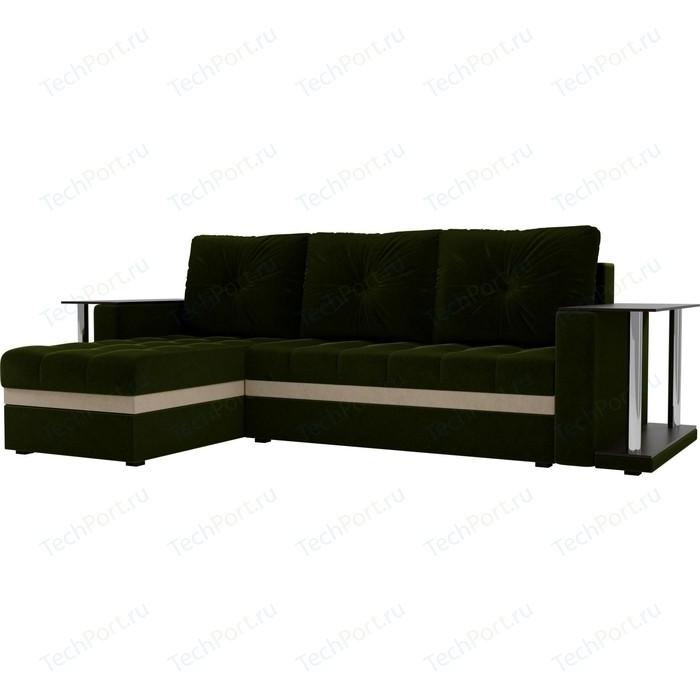 Угловой диван АртМебель Атланта М 2 стола вельвет зеленый левый угол