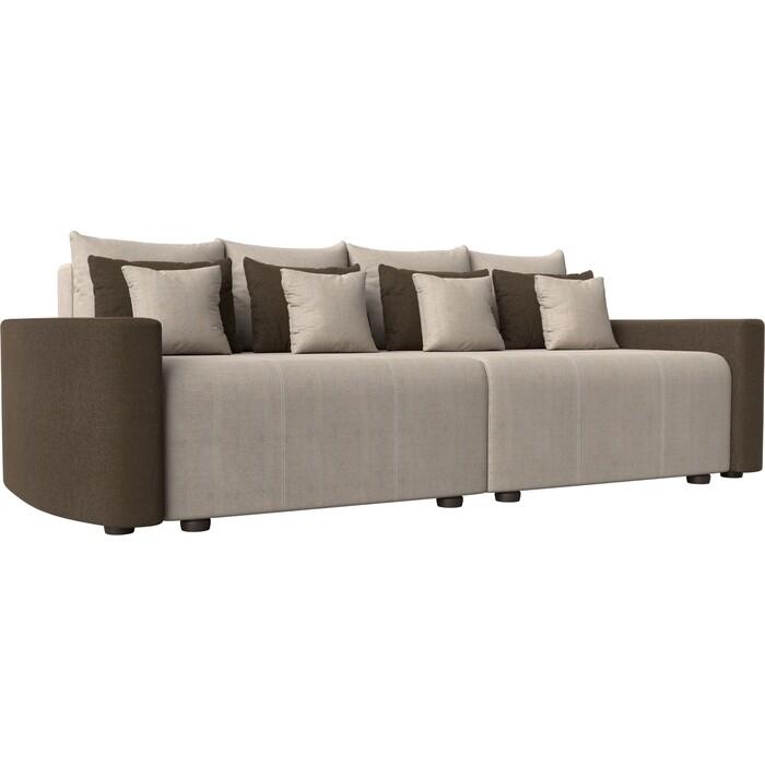 Прямой диван Лига Диванов Бристоль рогожка бежевый/коричневый