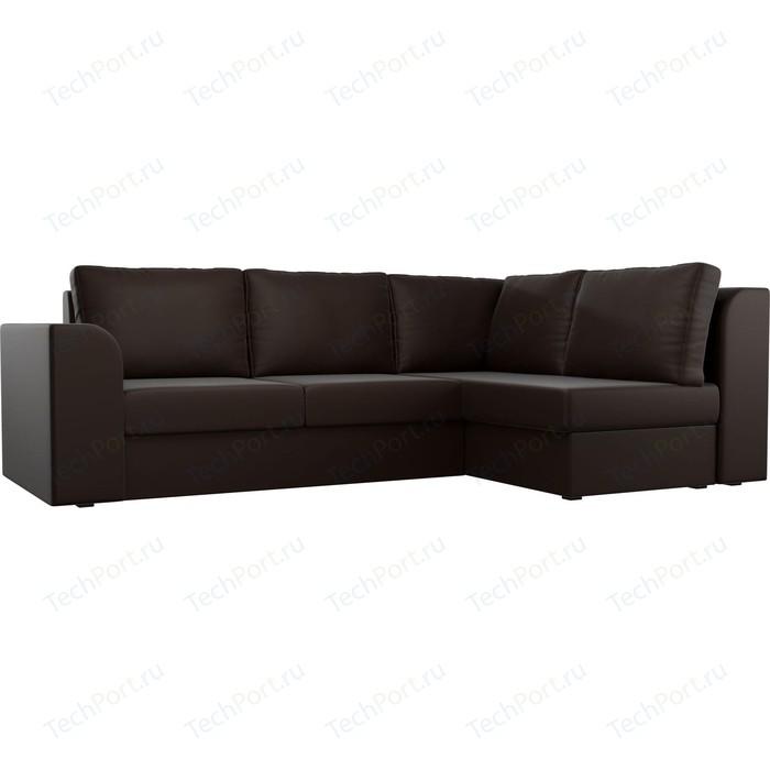 Угловой диван Лига Диванов Пауэр экокожа коричневый правый угол угловой диван лига диванов эридан экокожа коричневый правый угол