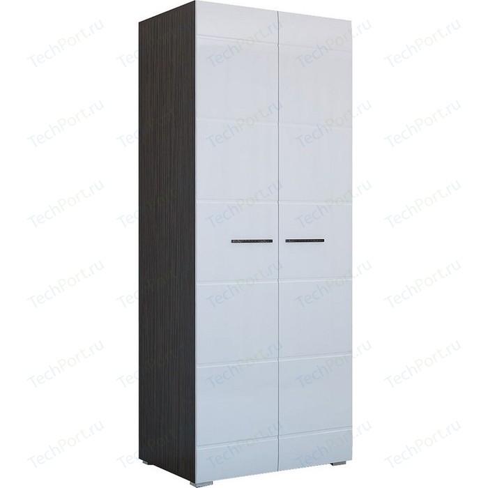 Шкаф 2-х створчатый Горизонт Ненси белый глянец+венге