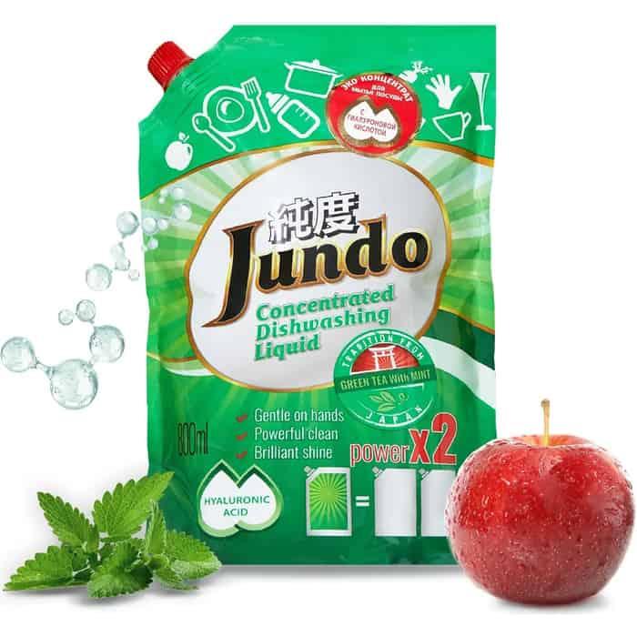 Гель для мытья посуды и детских принадлежностей Jundo Green tea with Mint, с гиалуроновой кислотой, концентрат, запаска 800 мл