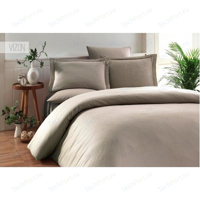 Комплект постельного белья Karna Евро, бамбук/хлопок, Ruya (3092/CHAR002) Визон