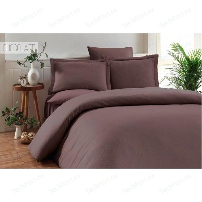 Комплект постельного белья Karna Евро, бамбук/хлопок, Ruya (3092/CHAR004) Коричневый