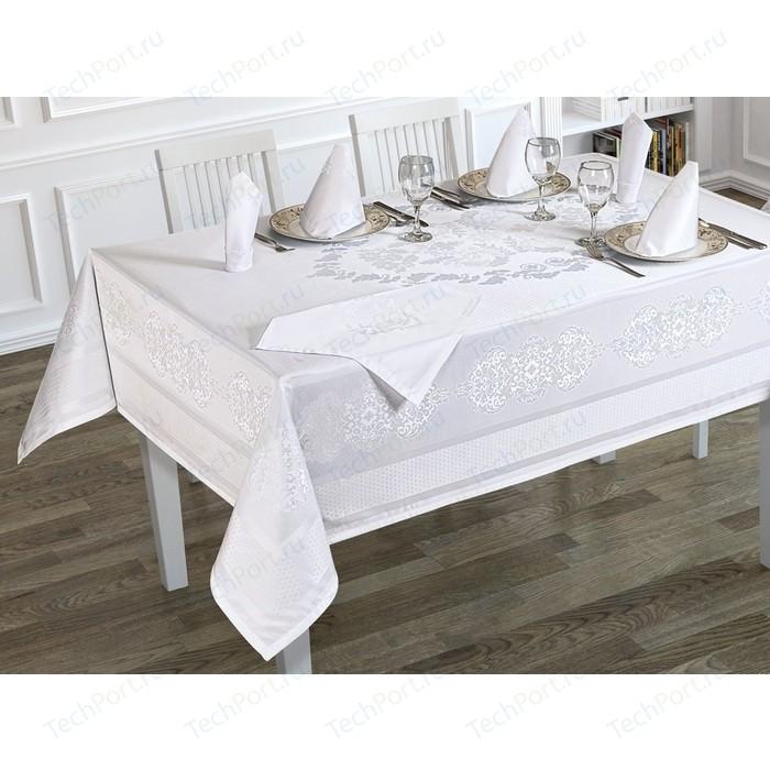 Скатерть Karna жаккард пано c салфетками Caramel 160X220 пряумогольная (3215/CHAR002) Белый