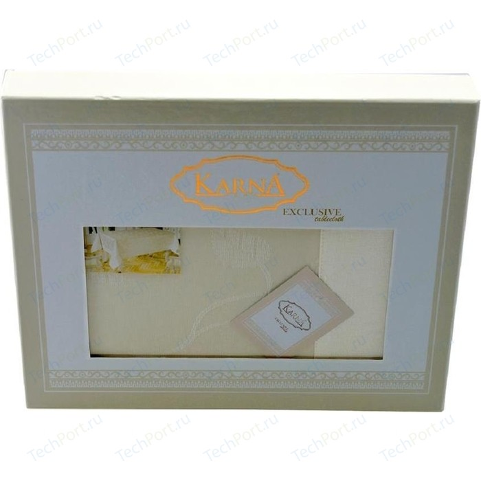 Скатерть Karna 60% хлопок 40% полиестер Neo Coton 160X300 пряумогольная (3016/CHAR003) Кремовый