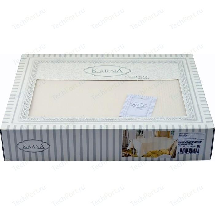 Скатерть Karna 50% хлопок полизстер Honey 160X220 пряумогольная (3019/CHAR003) Кремовый