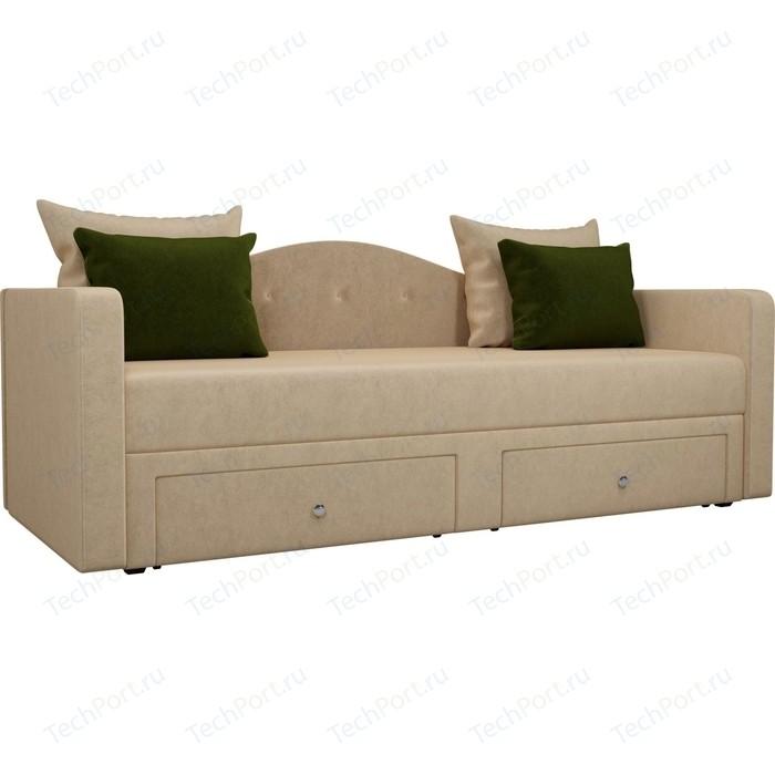 Детский прямой диван АртМебель Дориан вельвет бежевый подушки зеленые