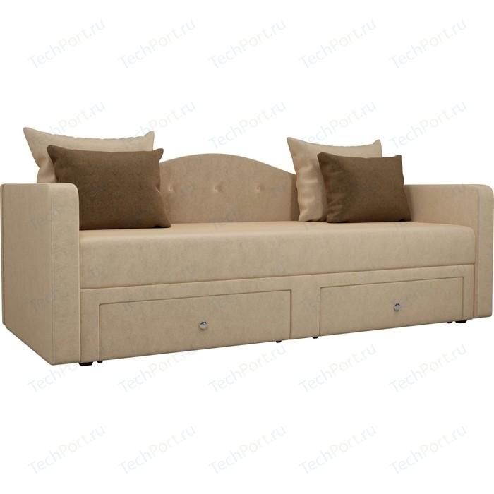 Детский прямой диван АртМебель Дориан вельвет бежевый подушки коричневые
