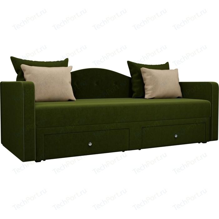 Детский прямой диван АртМебель Дориан вельвет зеленый