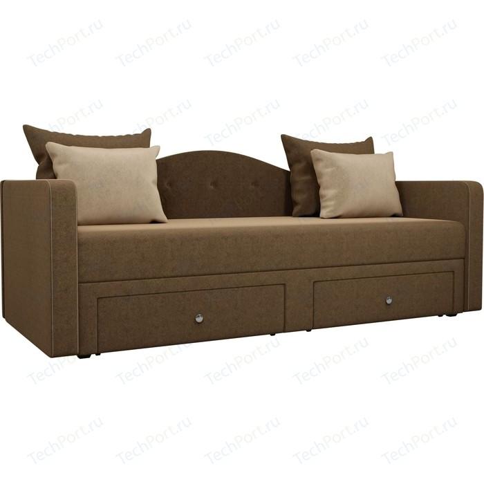Детский прямой диван АртМебель Дориан вельвет коричневый