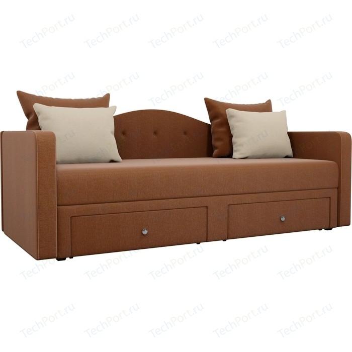 Детский прямой диван АртМебель Дориан рогожка коричневый подушки бежевые
