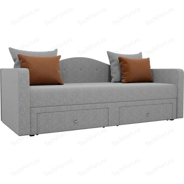Детский прямой диван АртМебель Дориан рогожка серый подушки коричневые