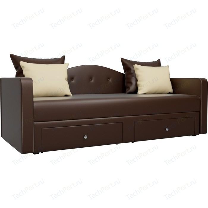 Детский прямой диван АртМебель Дориан экокожа коричневый
