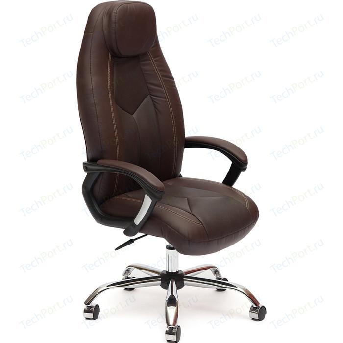 Кресло TetChair BOSS (хром), кож/зам, коричневый/коричневый перфорированный, 2 TONE/2 TONE/06