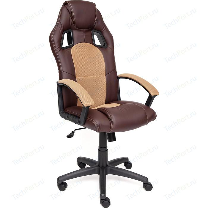 Кресло TetChair DRIVER кож/зам/ткань, коричневый/бронзовый, 36-36/21