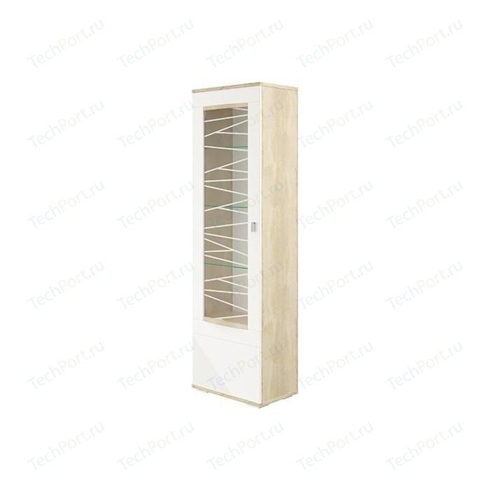 Шкаф - пенал Олимп 06.110 Алабама дуб сонома/белый глянецлевый