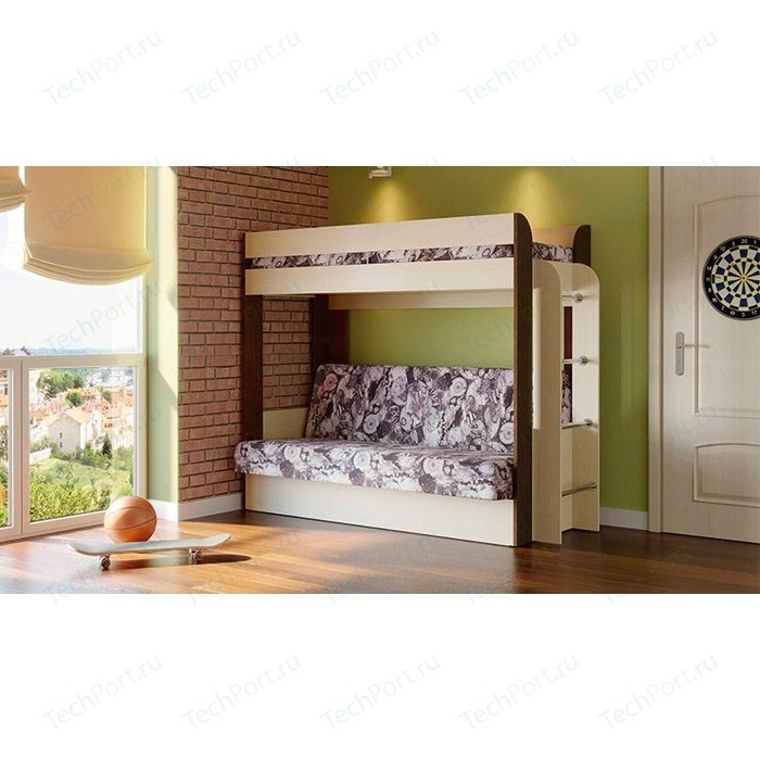 Кровать - чердак с диван кроватью Олимп Немо дуб линдберг/венге/микровелюр Лас Вегас (без верхнего матраца)