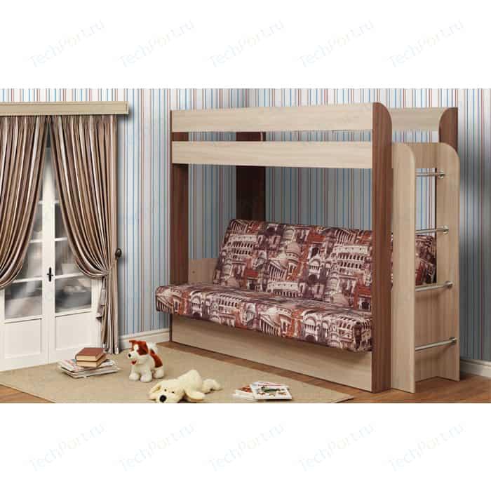 Кровать - чердак с диван кроватью Олимп Немо ясень шимо светлый/ясень темный/ткань Архитектура КИТ