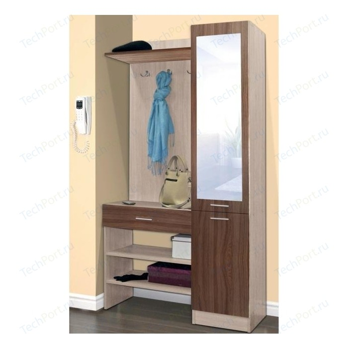 Шкаф комбинированный Олимп Виола - 1 ясень шимо светлый/ясень шимо темный/зеркало