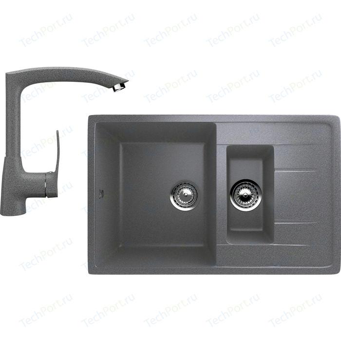 цена Кухонная мойка и смеситель Ulgran U-205 темно-серый онлайн в 2017 году