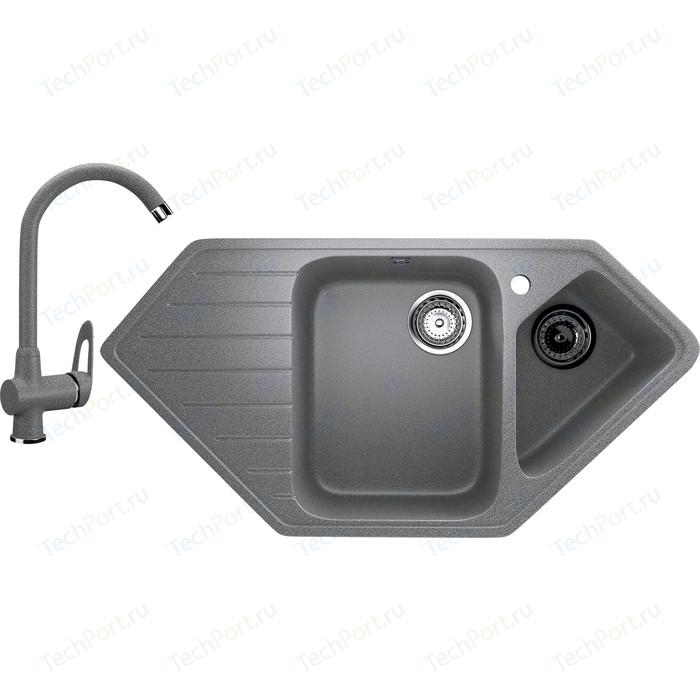 Кухонная мойка и смеситель Ulgran U-409 темно-серый
