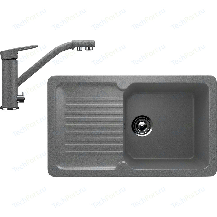 Кухонная мойка и смеситель Ulgran U-506 темно-серый