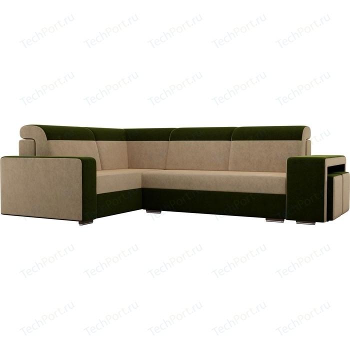 Угловой диван Лига Диванов Мустанг с двумя пуфами вельвет бежевый/зеленый левый угол