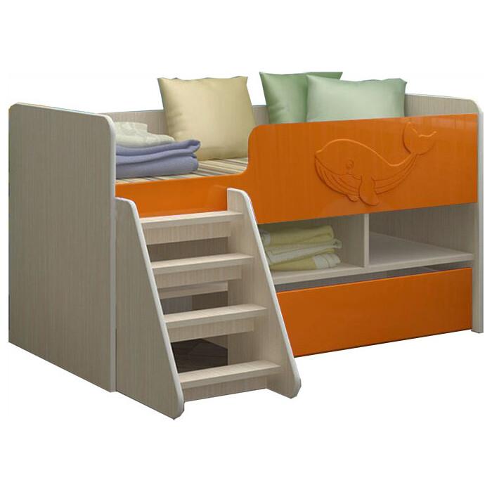 Детская кровать Регион 58 Юниор-3 МДФ оранжевый 70x140
