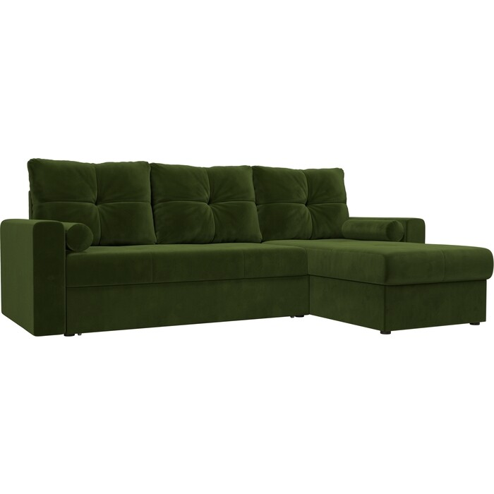 Угловой диван АртМебель Верона микровельвет зеленый правый угол